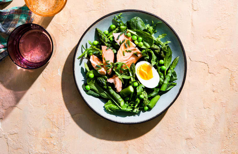 salmon dinner with greens and asparagus