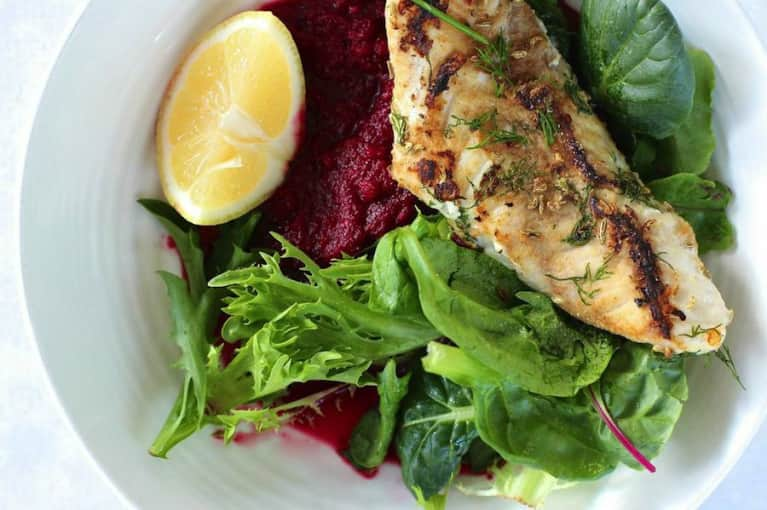 Fennel Snapper With Beet Puree