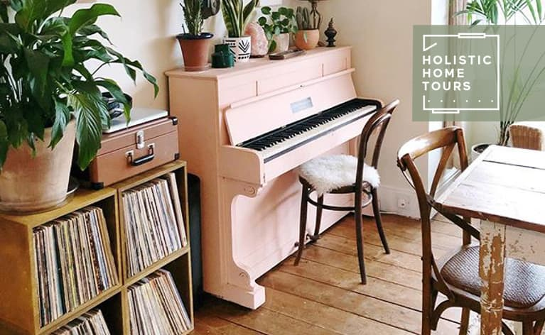 Pink piano in Antonia Kiddy's home in Southwest London