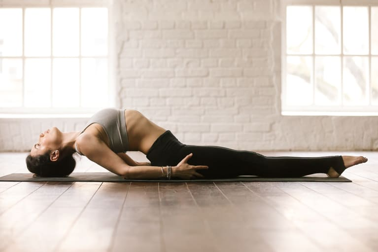 woman demonstrating supported fish pose