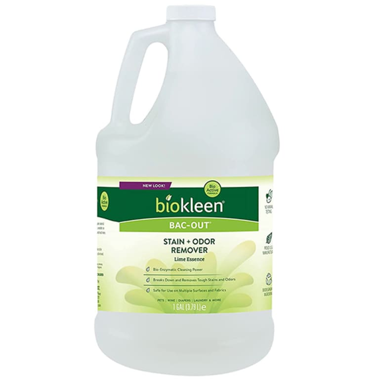 enzyme cleaner with white gallon with green label