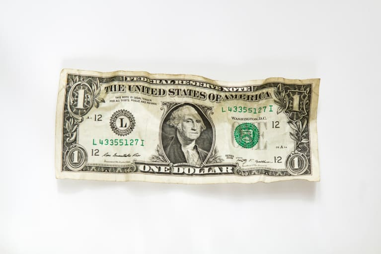 Crumpled US Dollar Bill