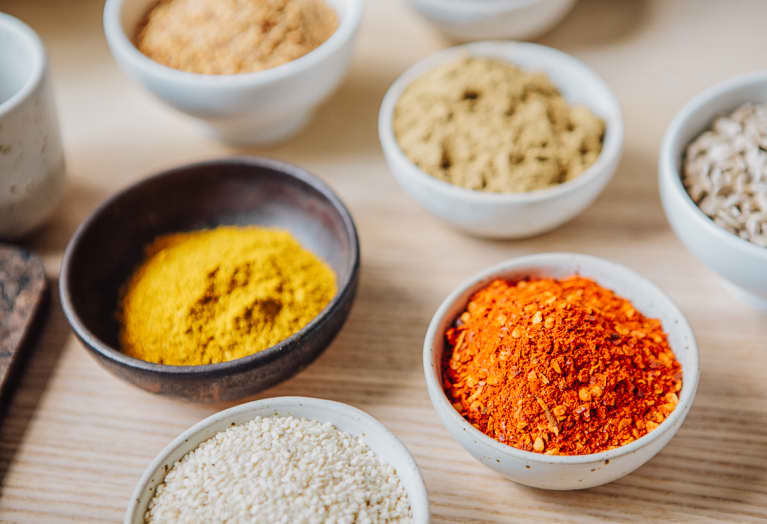 Variety of Spices in Small Bowls