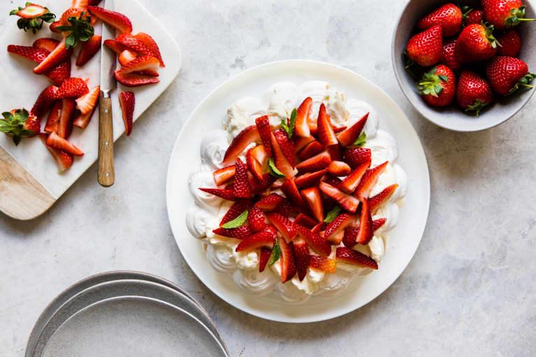Strawberry pavlova and whipped cream
