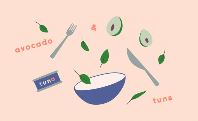 illustration of avocado tuna salad ingredients