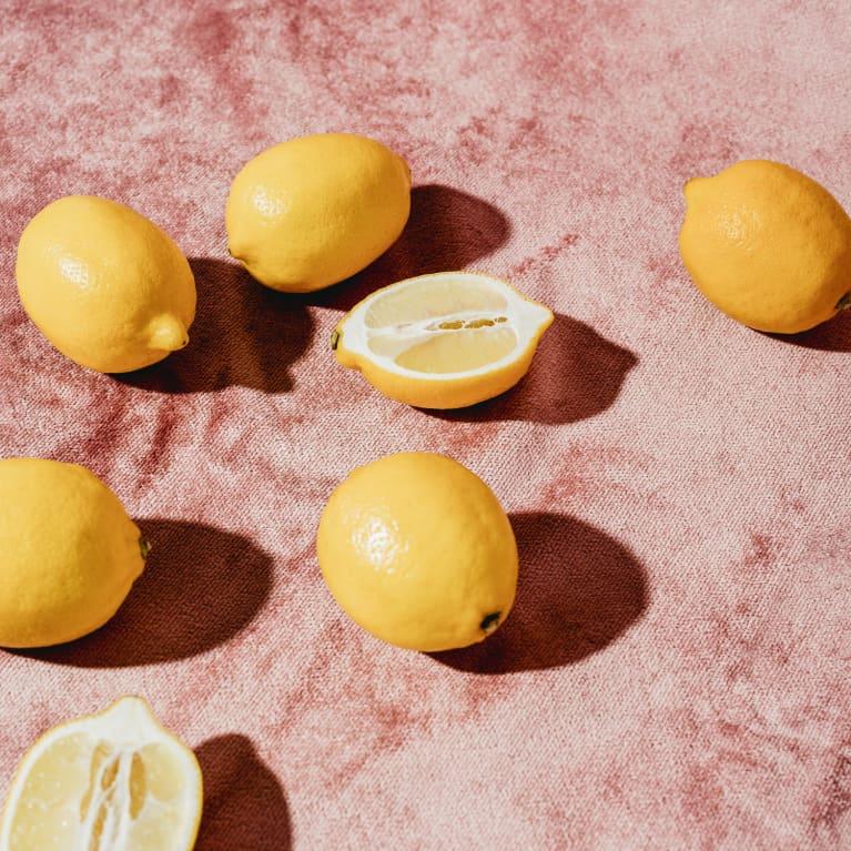 Lemons on Pink Fabric