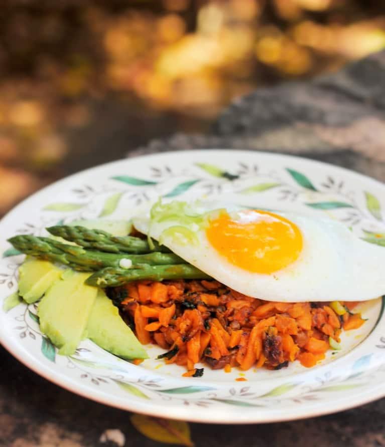 Greens, Egg + Yam