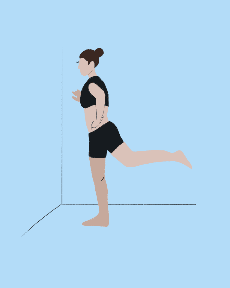 Leg swings hamstring stretch