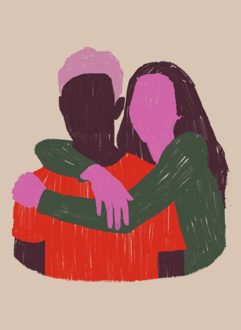 6. One-sided hug