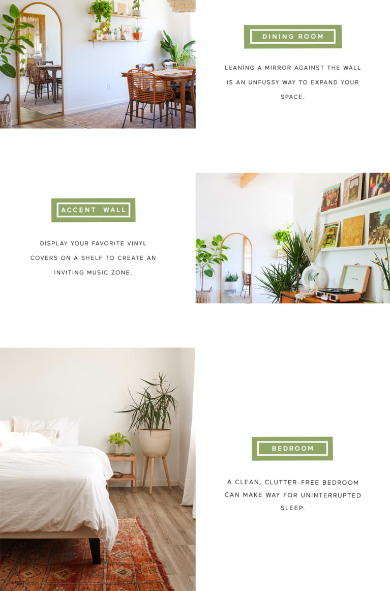 photos of calming home with information about how to recreate the look