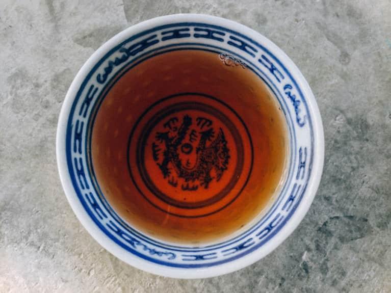 Home-Brewed Healing Tea With Rose Hips, Raw Honey + Ashwaghanda