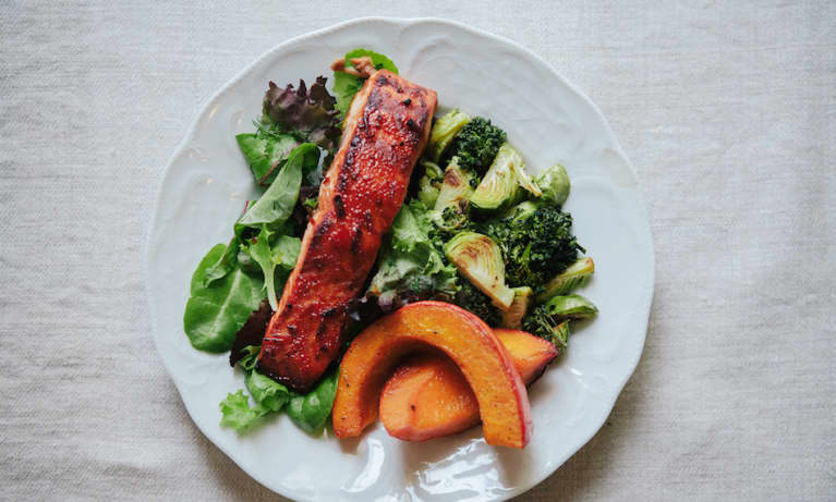 Cook Once, Eat Twice: Salmon + Roasted Winter Veggies