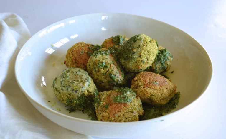 "Broccoli, White Bean + Ricotta ""Meatballs"" With Herbed Tahini Yogurt"