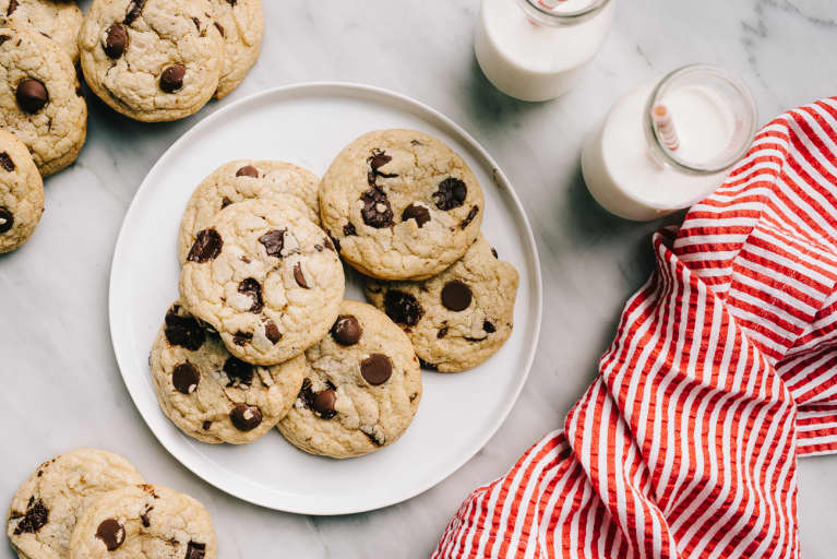 Overhead Photo of a Plate of Chocolate Chip Cookie with Milk