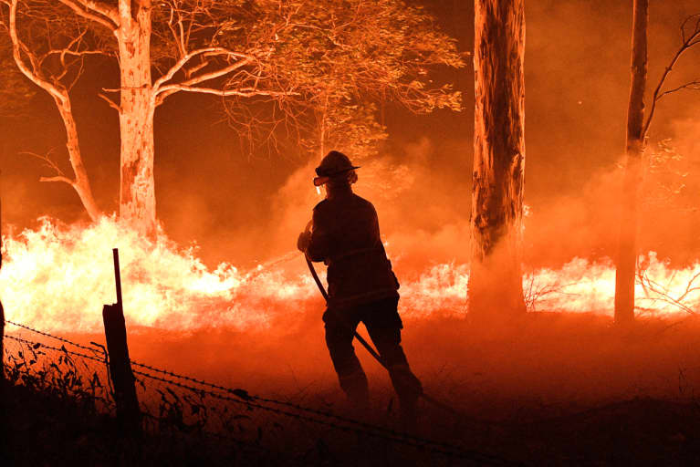 Firefighter Tackling Wildfires Tearing Through Australia