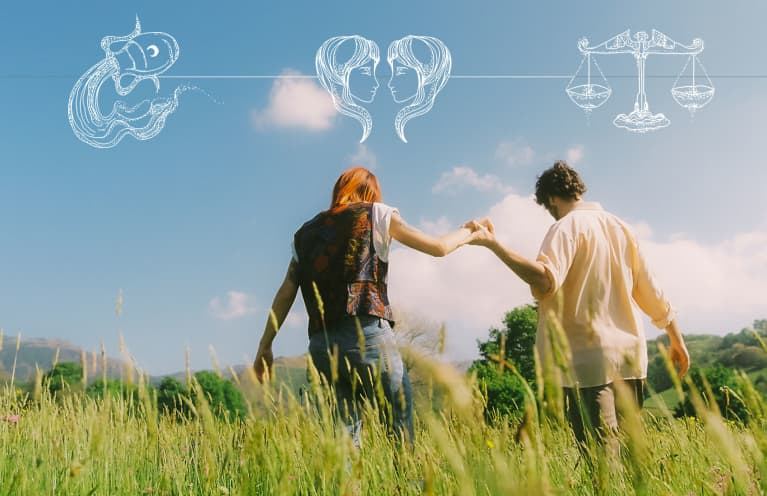 two people holding hands in green field with astrological overlay