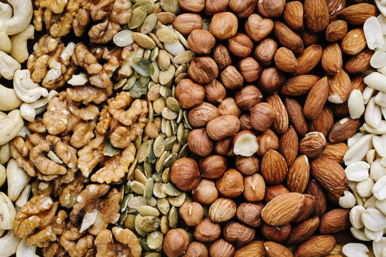 Walnuts, Pepitas, Hazelnuts, Almonds, and Cashews