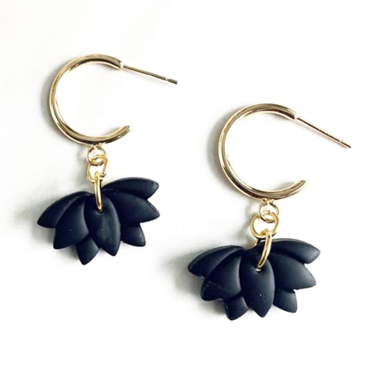 black clay earrings lotus shaped