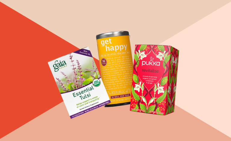 collage of teas to boost your mood during winter SAD season