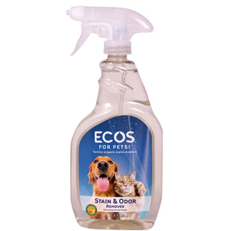 enzyme cleaner in clear bottle with blue label