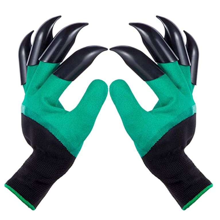 green garden gloves with black claw tips