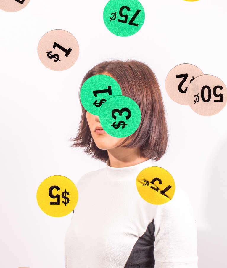 Woman with price stickers overlaid