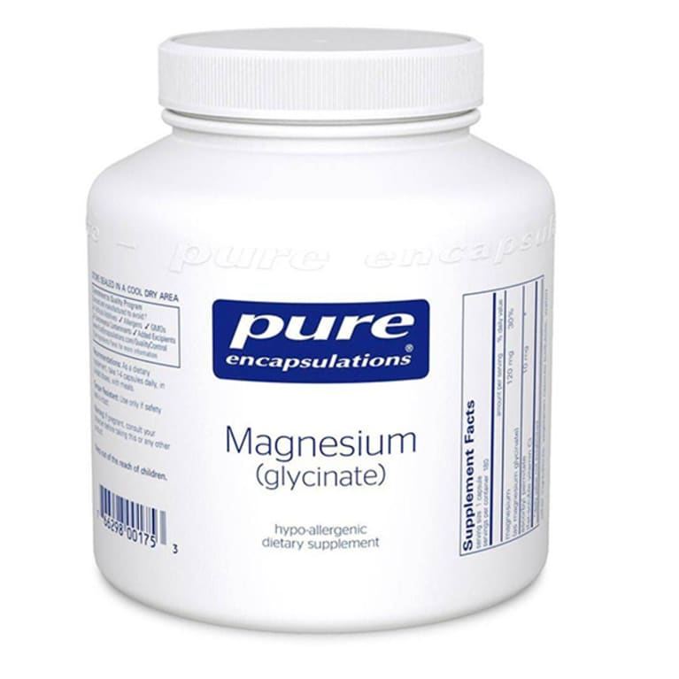 White supplement bottle with blue label for magnesium