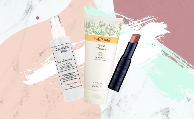 Collage of clean beauty products available in 2019 for everyday use