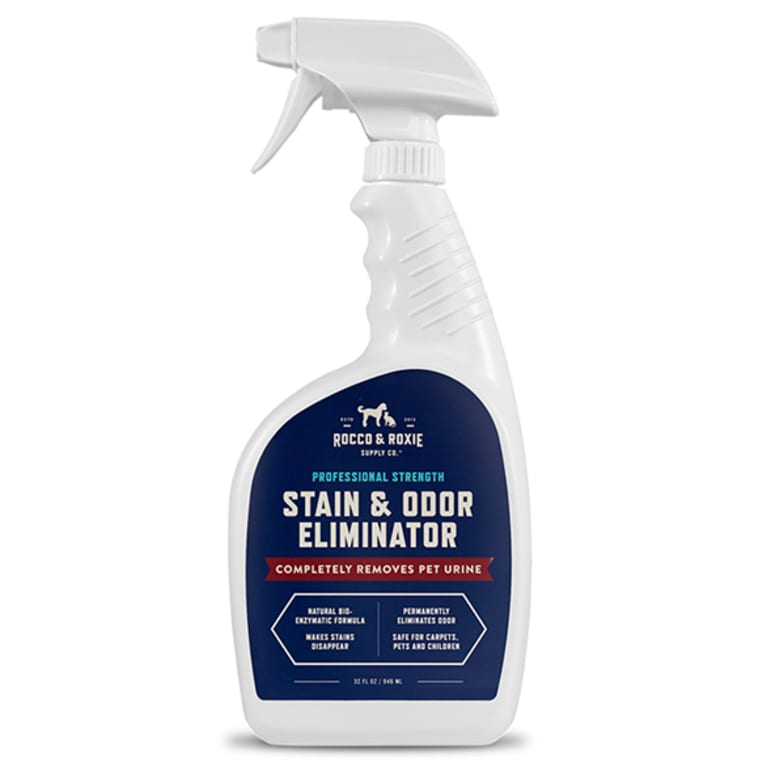 enzyme cleaner in white bottle with blue lable