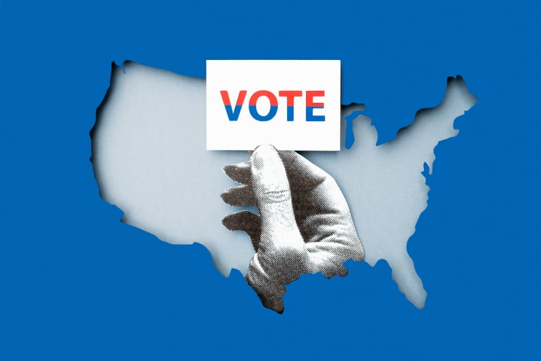 USA Map With A Hand Voting