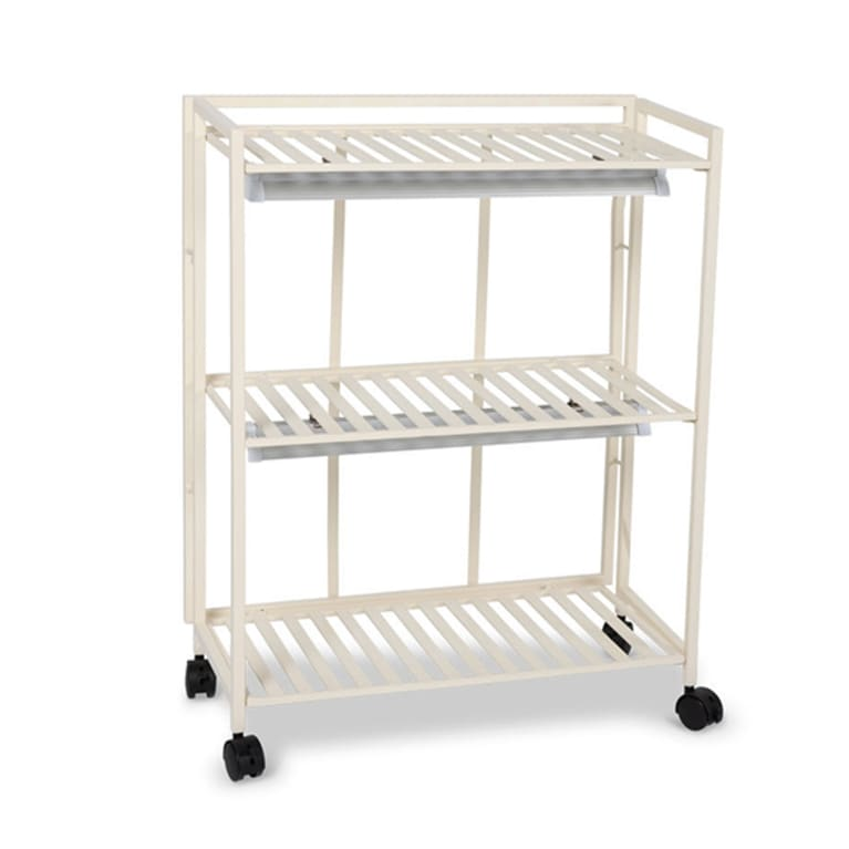 white swivel cart with attached plant grow lights