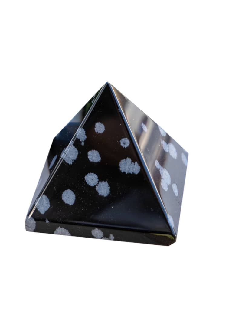 Snowflake Obsidian Pyramid black crystal with white spots