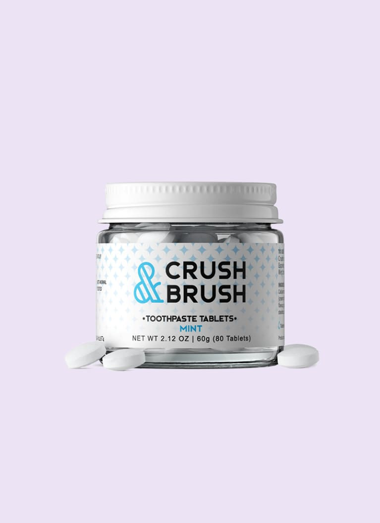 Crush & Brush toothpaste tablets in glass jar