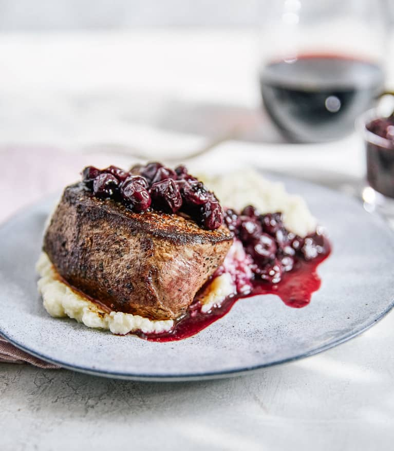 Blueberry Filet Mignon with Cauliflower Mash