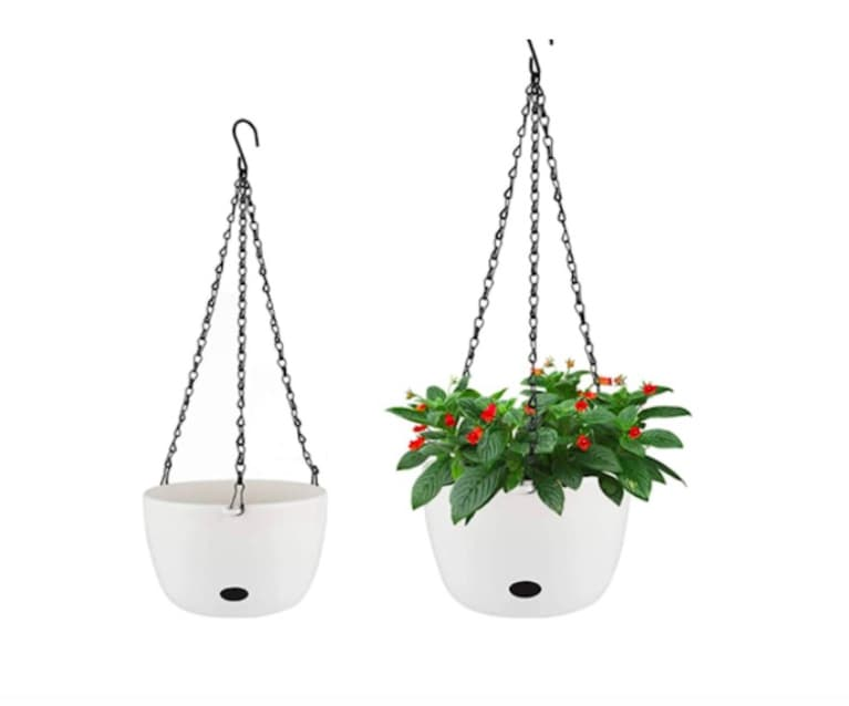 white hanging self-watering planters