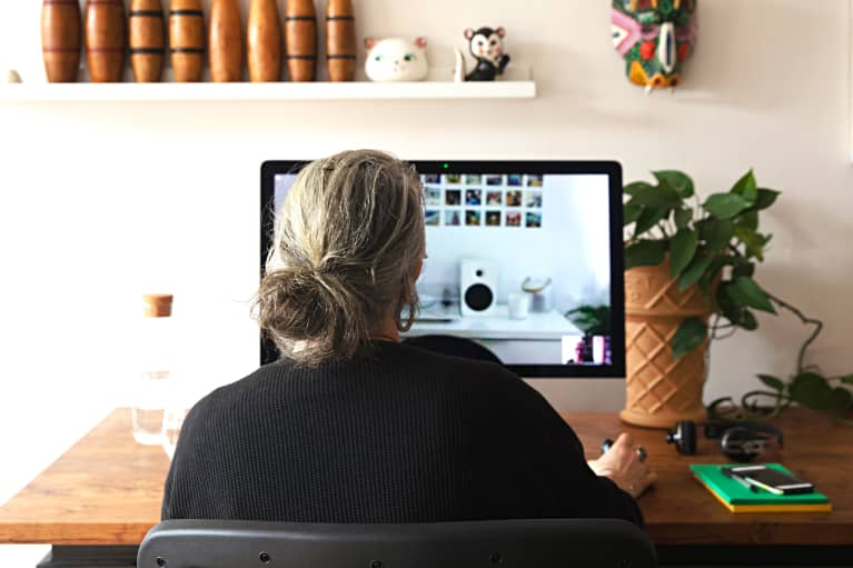 2 women chat at home via online video call meeting