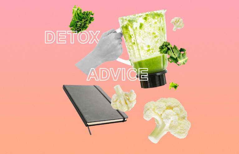 collage illustration about detox advice