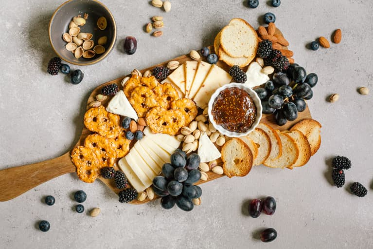 Cheese Board with Fresh Fruits and Nuts