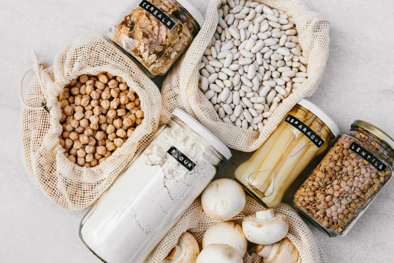 Plastic free organization for the pantry - Flour, Beans, Chickpeas, Lentils, and Canned Asparagus