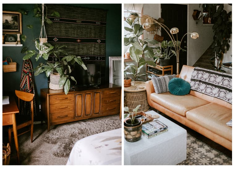 Credenza with plants on left and tan leather couch on right