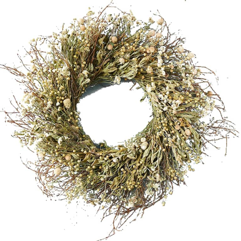 wreath made from dried spring meadow flowers