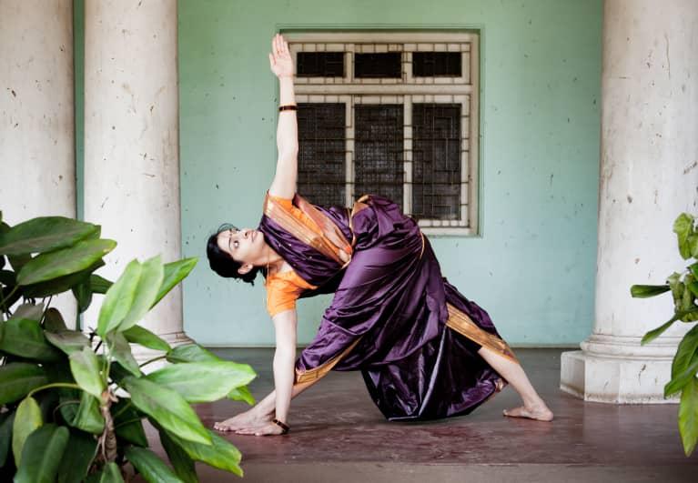 Woman Doing Yoga In A Sari