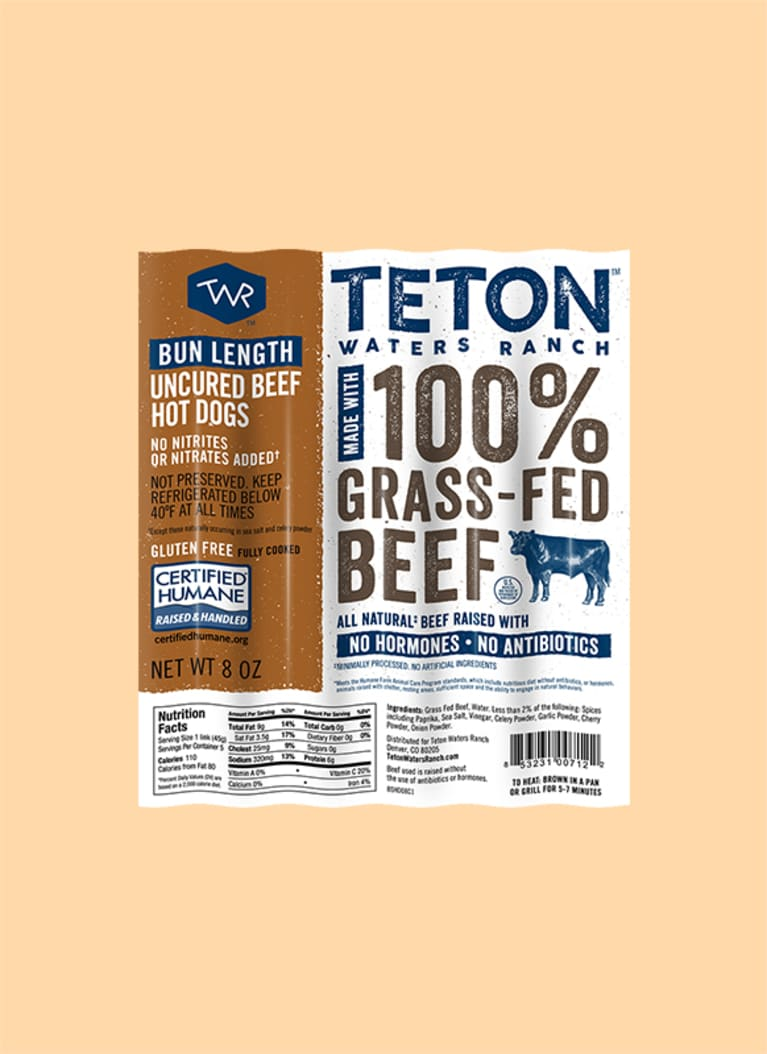Teton Waters Ranch Bun-Length 100% Grass-Fed Beef Hot Dogs