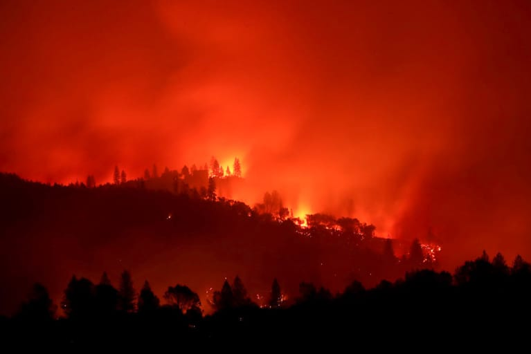 2018 California Wildfire Rages Through Homes