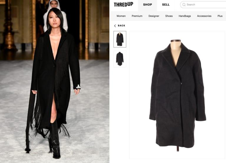 model in a black jacket walking down fashion runway at New York Fashion Week
