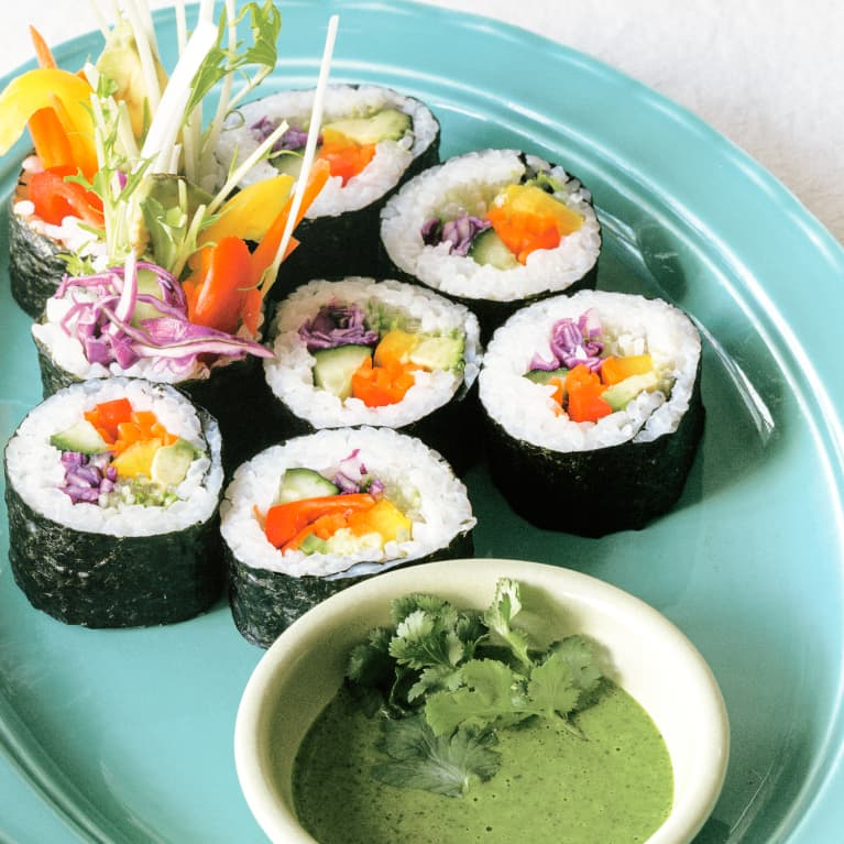 Vegan Sushi Rainbow Roll