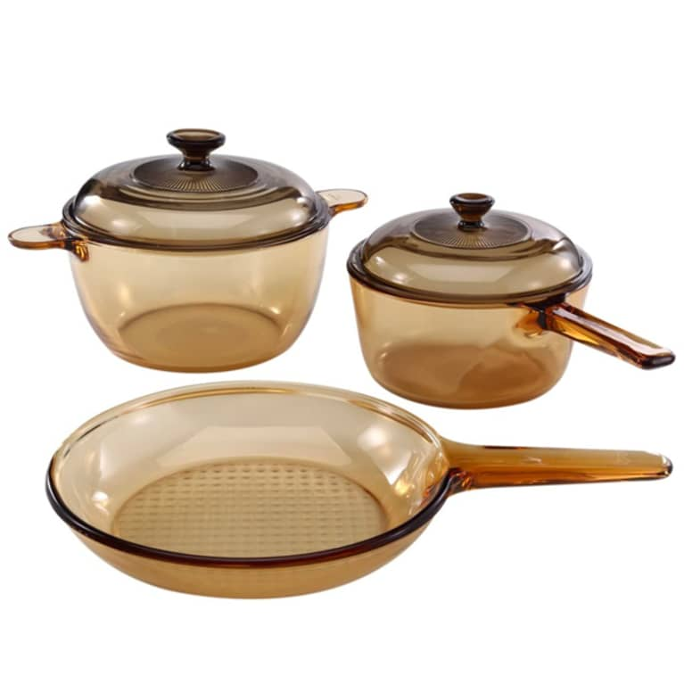glass pan and pot set in sand color
