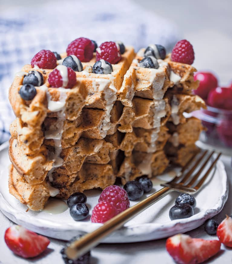 yummy waffle stack with blueberries