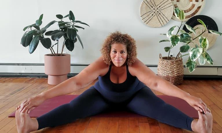 wide angle seated forward fold yoga pose