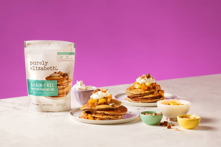 "Purely Perfection: Grain-Free Protein Pancakes With Peach Ginger ""Cobbler"" Compote"